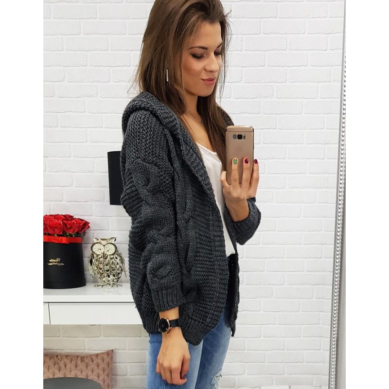 623da6e38a9bf Krásny antracitový dámsky sveter s kapucňou v trendy predĺženom strihu