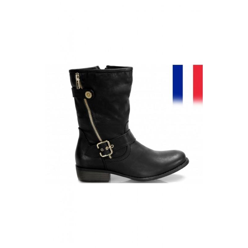 Dámske nízke čižmy čiernej farby so zipsom - fashionday.eu 5de2fe04839