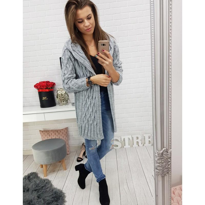 a6dce45cb3eb Trendy dlhý pletený sveter dámsky rovného strihu v sivej farbe s kapucňou