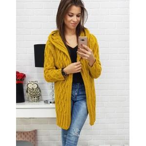 Módny dlhý pletený dámsky kardigán v trendy jesennej žltej farbe