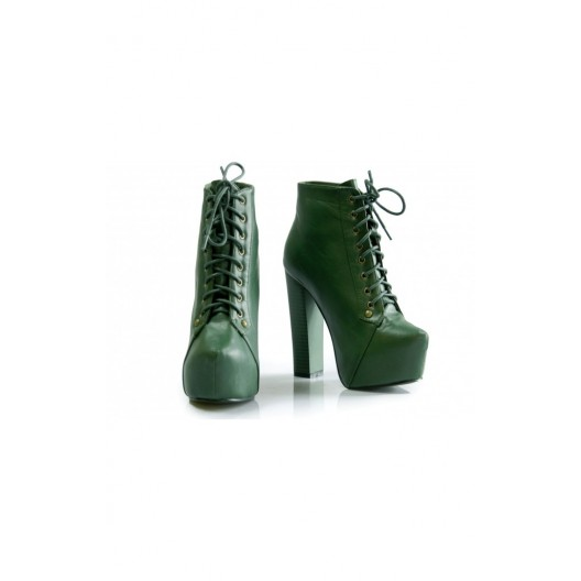 Dámske šnúrovacie topánky s platformou zelenej farby
