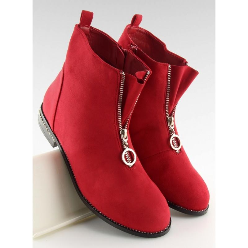8b4009e0b4821 Dámske členkové topánky v červenej farbe so zapínaním na zips