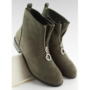 Dámske jarné členkové topánky so zipsom v zelenej farbe