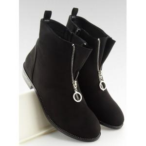 Jesenné kotníkové semišové topánky v čiernej farbe so zipsom