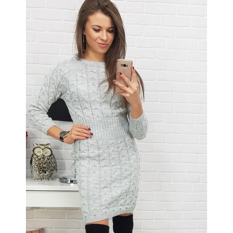4c0d2a47bc4e Dámske šaty s dlhým rukávom v sivej farbe