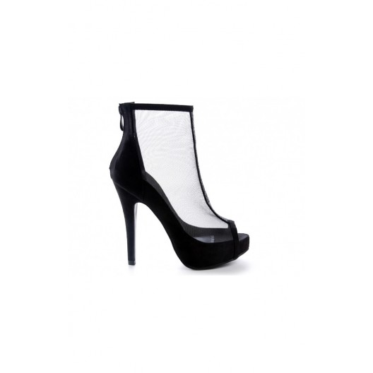 Priesvitné dámske topánky na vysokom opätku s platformou