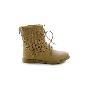 Kotníkové dámske topánky svetlo-hnedej farby so zipsom