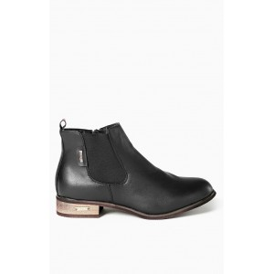 Dámske kotníkové topánky s nízkym opätkom čiernej farby