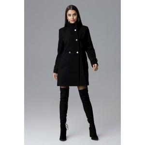 Štýlový čierny dámsky zimný kabát nad kolená s dvojradovým zapínaním