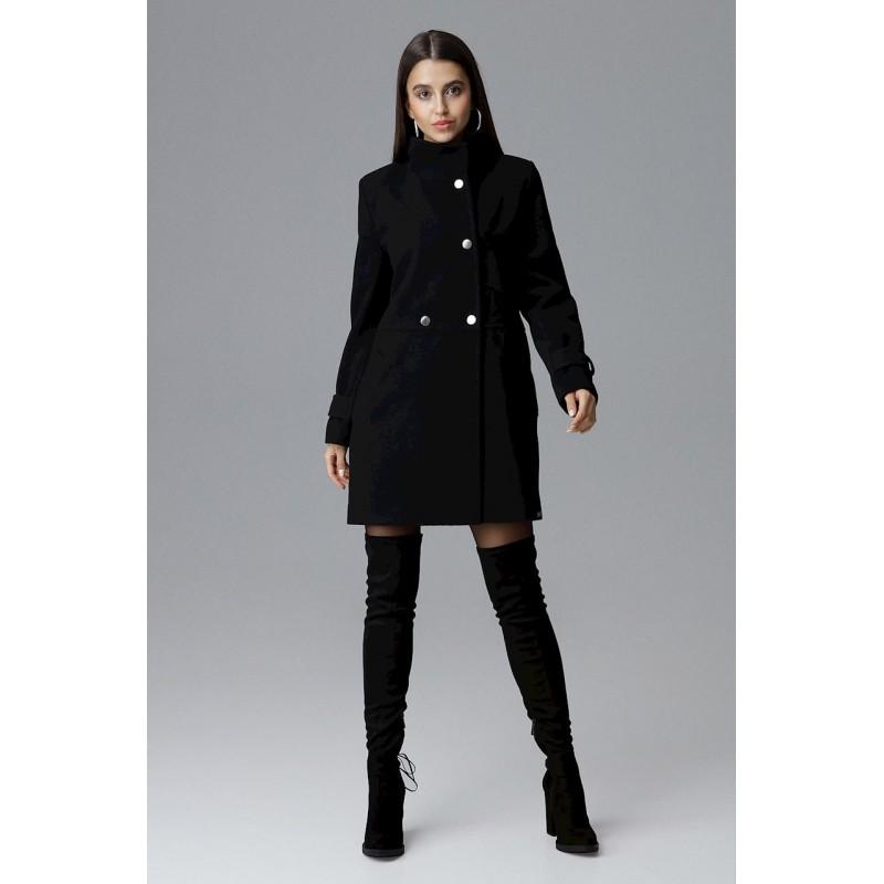 Štýlový čierny dámsky zimný kabát nad kolená s dvojradovým zapínaním 34e70757cea