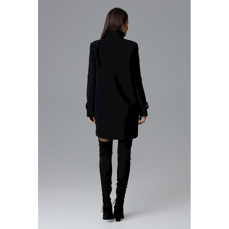 9f5707c94a Štýlový čierny dámsky zimný kabát nad kolená s dvojradovým zapínaním