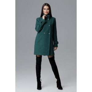 Krásny dámsky zelený kabát rovného strihu s bočnými vreckami