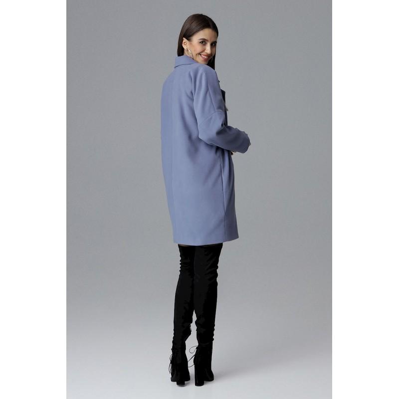 33978fb86d Svetlo-modrý dámsky kabát s módnou prackou na rukávoch a vreckami