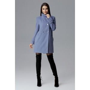 Svetlo-modrý dámsky kabát s módnou prackou na rukávoch a vreckami