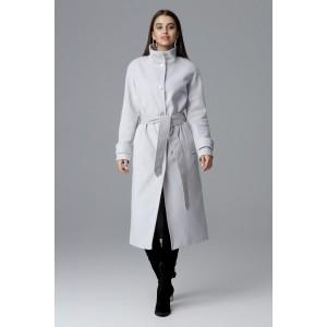 Elegantný dlhý dámsky kabát v sivej farbe s opaskom a bočnými vreckami