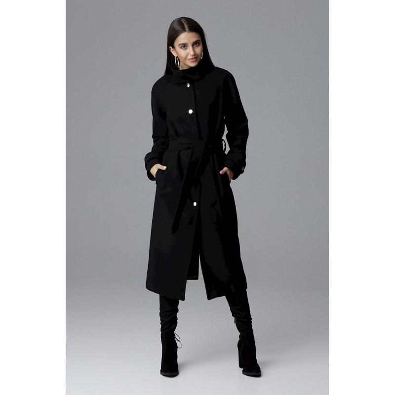 a53a25d7da Dlhý dámsky čierny kabát s módnym stojačikom a opaskom v oblasti pása