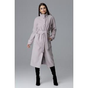 Béžový dámsky dlhý kabát na zimu so stojačikom a zapínaním na cvoky