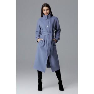 Dámsky dlhý kabát na zimu v svetlo modrej farbe so stojačikom a opaskom