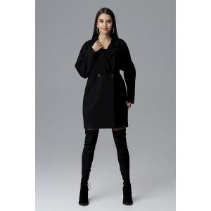 Módny čierny dámsky zimný kabát oversize sakového strihu