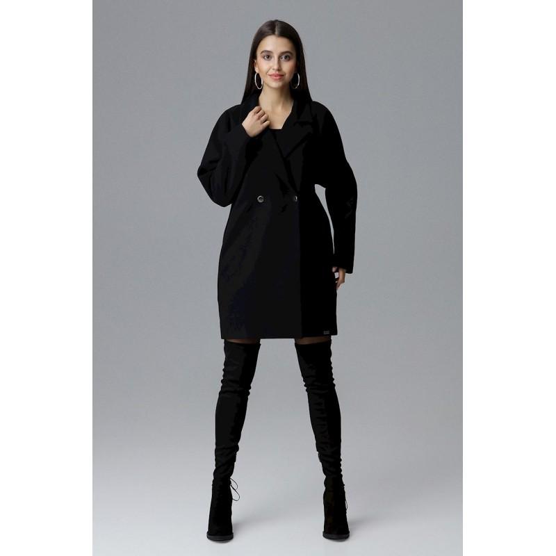 4f518f3f6c Módny čierny dámsky zimný kabát oversize sakového strihu