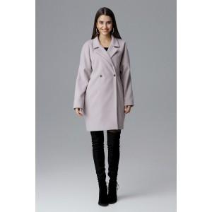 Dámsky módny oversize béžový kabát na zimu so strieborými cvokmi