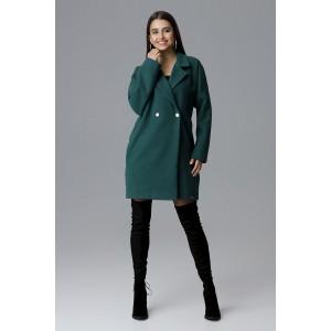 Moderný dámsky zimný kabát zelenej farby v oversize strihu