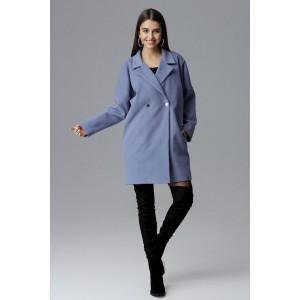 Oversize modrý dámsky zimný kabát sakového strihu