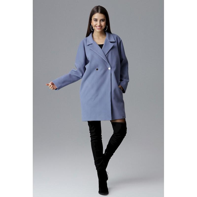 0b3ceb97a4 Oversize modrý dámsky zimný kabát sakového strihu