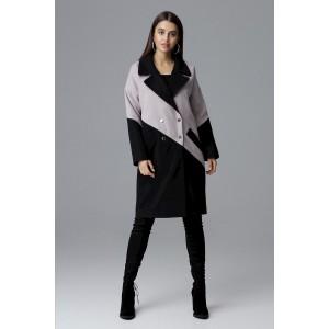 f9c38b134a Čierno-béžový elegantný dámsky kabát trendy dizajnu a zapínania