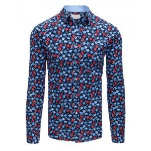 Tmavo modrá pánska košeľa s výraznými vzormi kvetov v slim fit strihu
