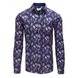 Štýlová pánska slim fit košela fialovej farby so vzorom bielych listov