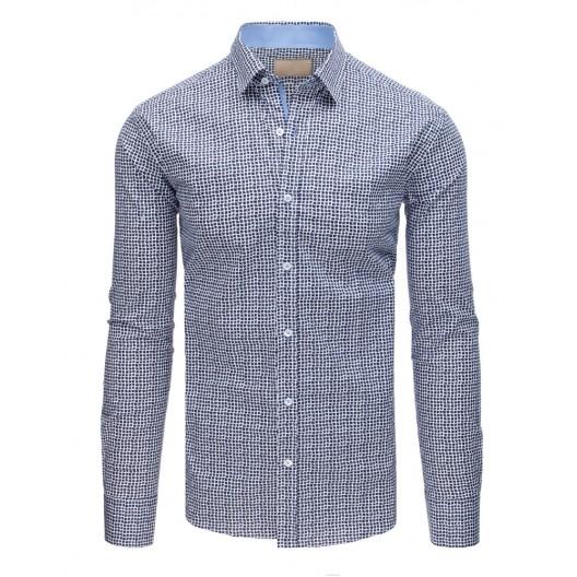 Elegantná bielo modrá vzorovaná pánska košeľa v slim-fit strihu