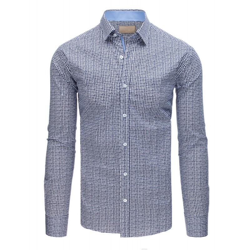 75187ee0b Elegantná bielo modrá vzorovaná pánska košeľa v slim-fit strihu