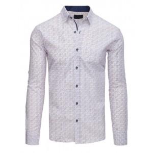 Elegantná biela pánska slim fit košeľa so vzorom kosoštvorcov