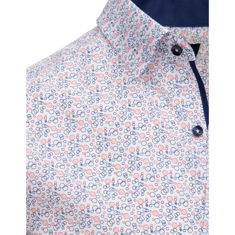 9e9f9bb68 Elegantná biela pánska slim fit košeľa so vzorom kosoštvorcov