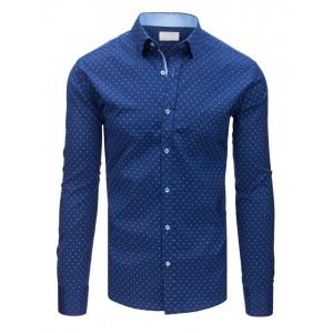 Luxusná modrá pánska košeľa v slim fit strihu s módnym bielym vzorom