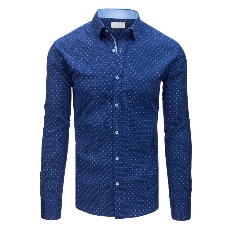 99ecca10ab0a Luxusná modrá pánska košeľa v slim fit strihu s módnym bielym vzorom