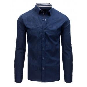 Modrá pánska košeľa slim fit s decentným matným bielym vzorom