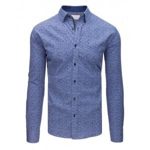 Elegantná svetlo-modrá vzorovaná pánska košeľa v slim fit strihu