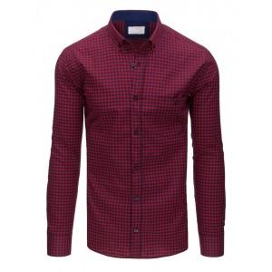 Moderná károvaná slim fit pánska košeľa v červeno-modrej farbe