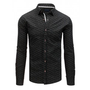 Exkluzívna čierna pánska košeľa so vzorom miniatúr geometrických tvarov