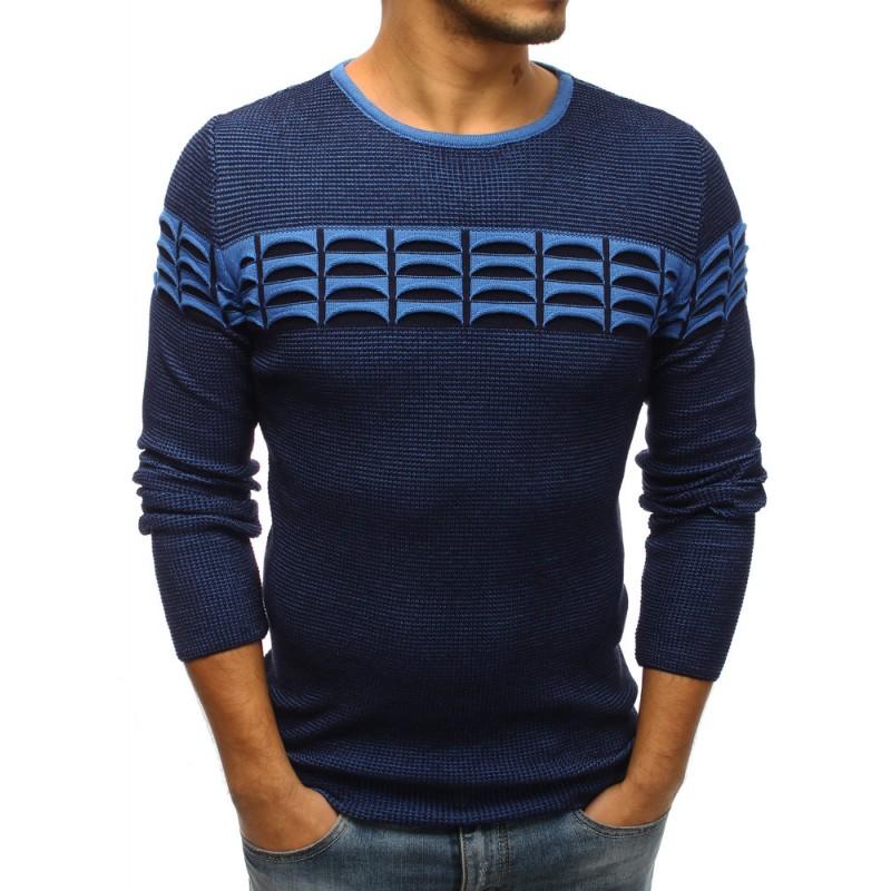 18e83f270237 Pletené pánske svetre tmavo modrej farby