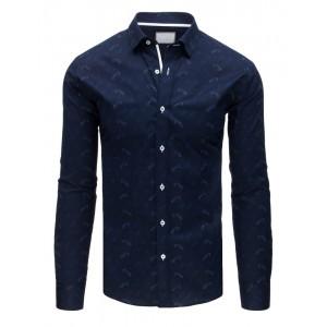 Štýlová slim fit pánska košeľa tmavo-modrej farby so vzorom