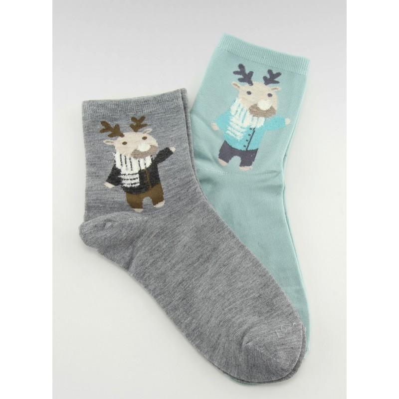 f5b62c8b8854 Vianočné ponožky pre páry v tyrkysovej a sivej farbe s motívom sobíka