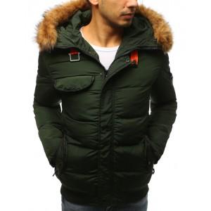 Pánska zimná bunda s kožušinou zelenej farby