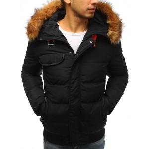 Čierna pánska vetrovka na zimu s kapucňou