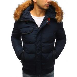 Kvalitná pánska bunda na zimu v tmavomodrej farbe