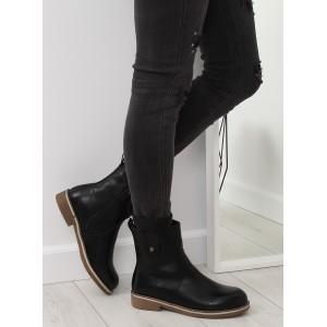 Čierne dámske kotníkové čižmičky s bočnou prackou a zapínaním na zips