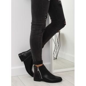 Čierne kotníkové čižmičky so strieborným vybíjaním a ozdobným zipsom
