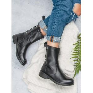 Jesenné dámske kotníkové čižmičky s trendy zadným viazaním